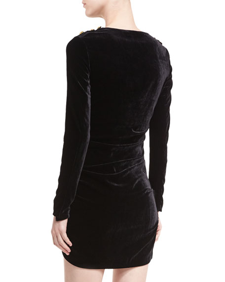Ira Side-Ruched Long-Sleeve Velvet Cocktail Dress