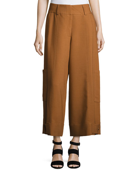 High-Waist Wide-Leg Cargo Trousers
