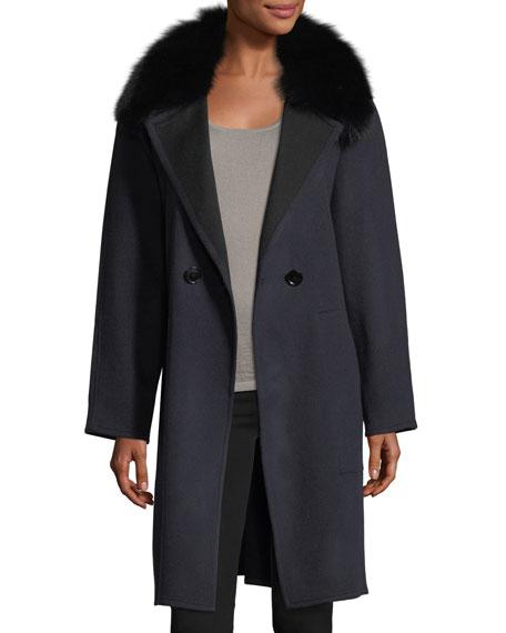 Double-Faced Raglan Sleeve Fox-Fur Wrap Coat