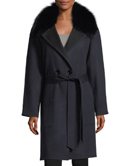 Double-Faced Raglan Sleeve Fox-Fur Wrap Coat