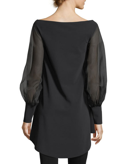 Kimama Off-the-Shoulder Organza Sleeve Cocktail Dress