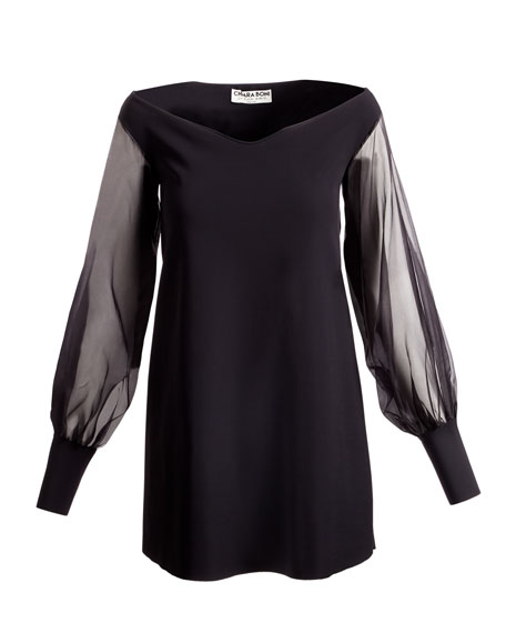 Kimama Off-the-Shoulder Organza Sleeve Cocktail Dress