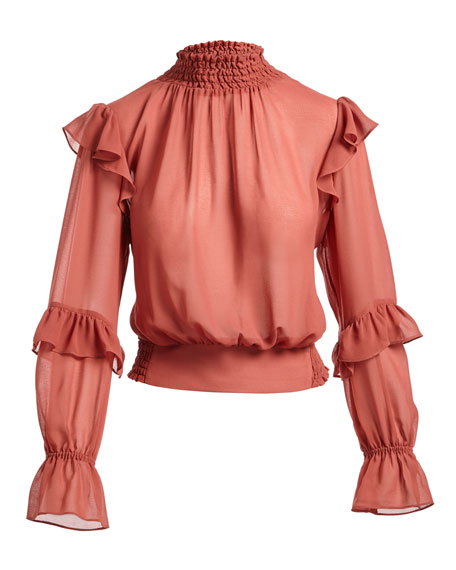 High-Neck Long-Sleeves Ruffled Smocked Chiffon Top