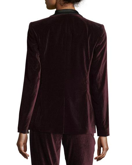 Macey Notched-Collar Tailored Velvet Blazer