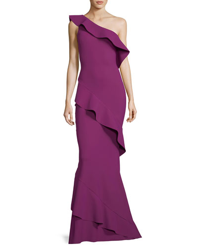 Tremarine One-Shoulder Trumpet Evening Gown w/ Ruffles