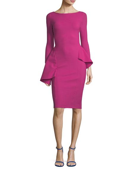 Agape Boat-Neck Long-Sleeve Peplum Cocktail Dress