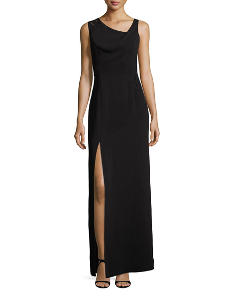 Halston Heritage Sleeveless Drape-Neck Embroidered Evening Gown