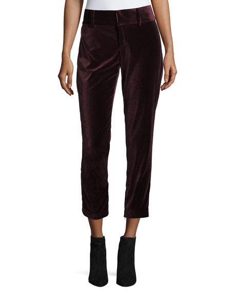 Stacey Slim High-Rise Velvet Ankle Pants