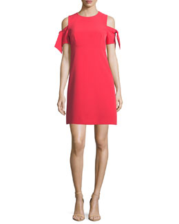 Short Tie-Sleeve Italian Cady Mod Minidress