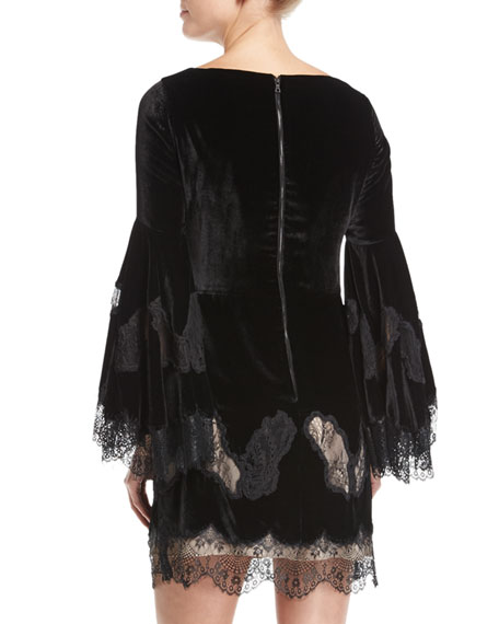 Leann Bell-Sleeve Velvet Tunic Dress w/ Lace