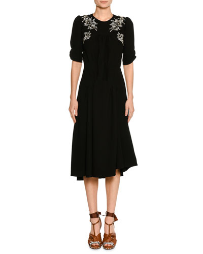 Embellished Short-Sleeve A-Line Midi Cocktail Dress