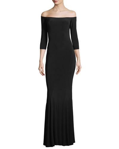 Off-the-Shoulder 3/4 Sleeves Fishtail Evening Gown