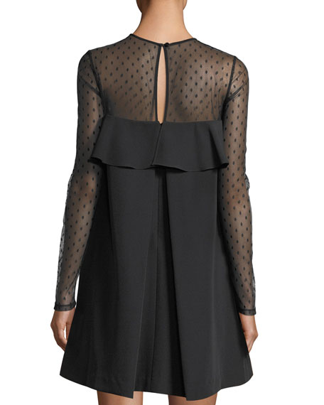 Sophie Dotted Tulle Popover Shift Dress