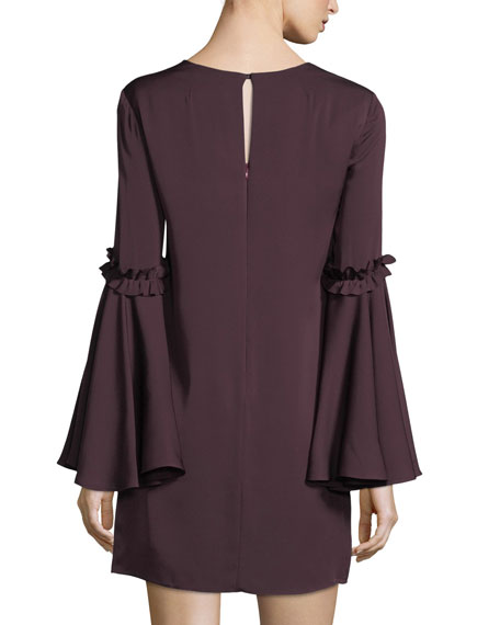 Cassie Bell-Sleeve Stretch-Silk Shift Dress