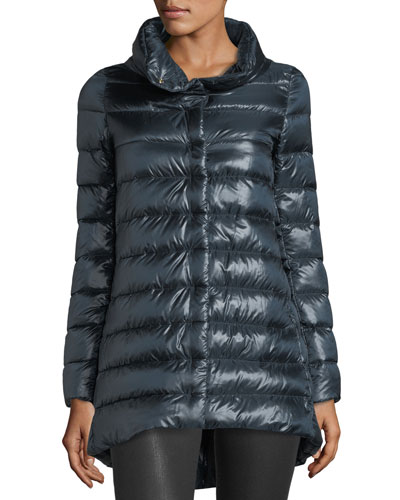 Ribbed High-Low Down Puffer Jacket
