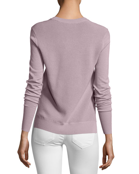 Meigan Long-Sleeve Crewneck Check-Side Sweater, Pink