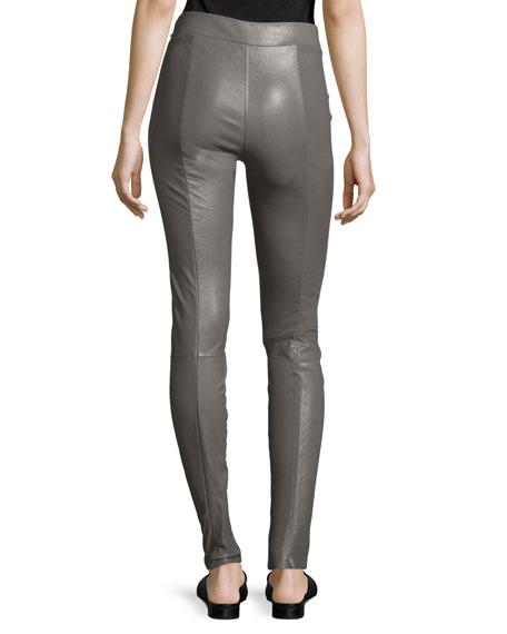 Eddine Leather High-Waist Skinny Pants