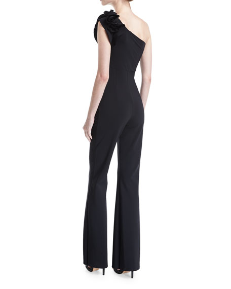 Harry One-Shoulder Wide-Leg Jersey Jumpsuit w/ Rose Details