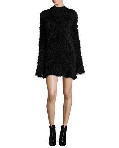 Faux-Fur Crewneck Long-Sleeve A-Line Dress