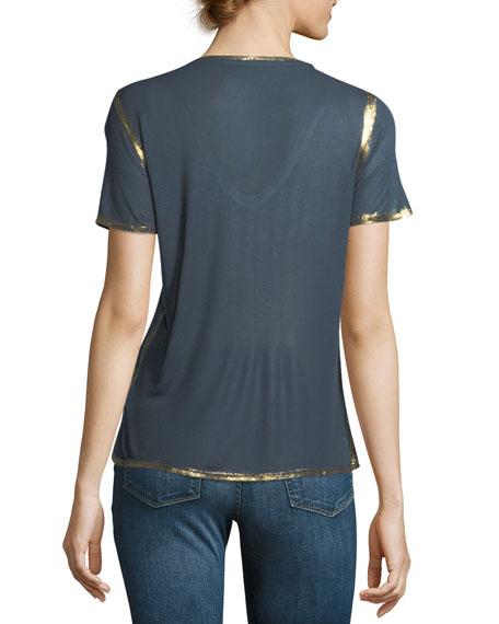 Tino Golden Foil V-Neck Short-Sleeve Tee