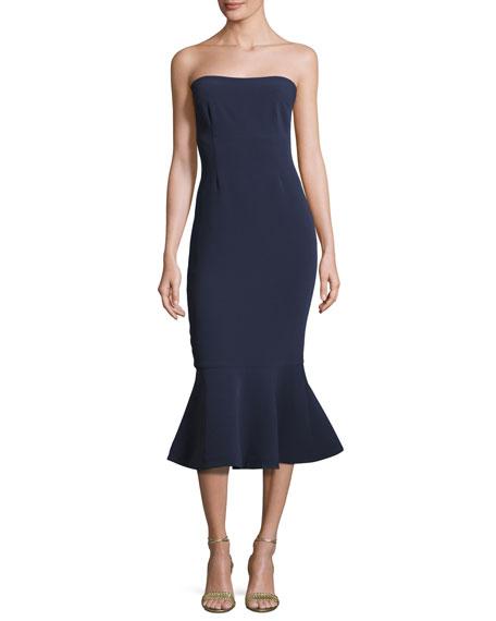 Luna Strapless Flounce-Hem Dress