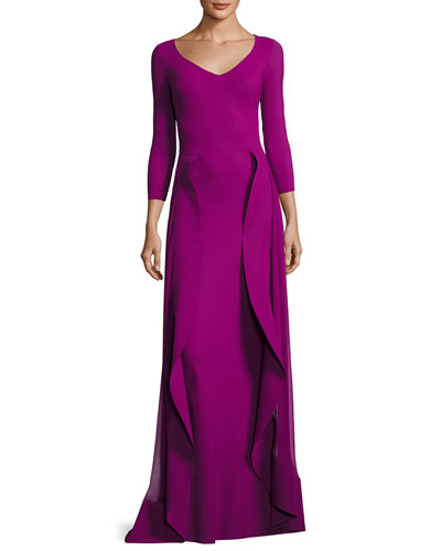 Lorelei V-Neck 3/4 Sleeves Evening Gown w/ Ruffled Overskirt