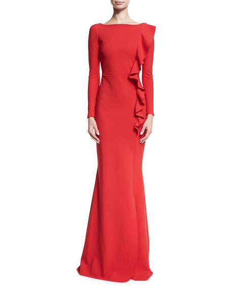 Image 1 of 1: Dilia Boat-Neck Trumpet Evening Gown w/ Ruffled Trim