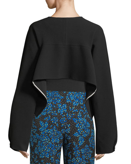 Cropped Button-Up Crossover Crepe Jacket
