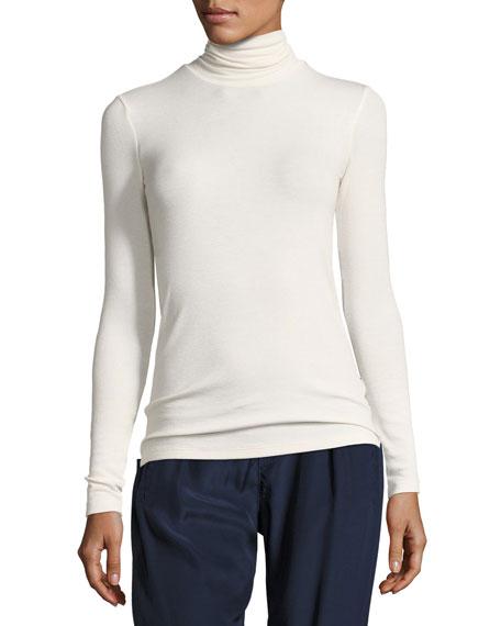 Modal Rib-Knit Long-Sleeve Turtleneck Top