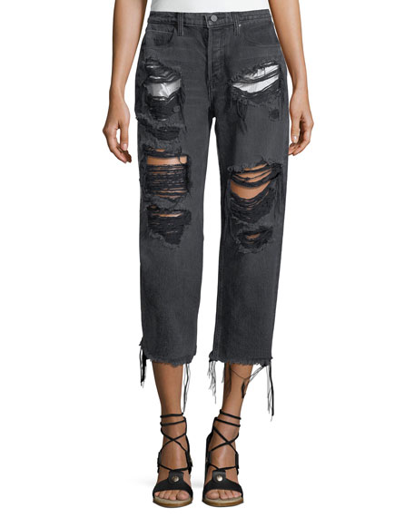 Rival Destroyed Cropped Boyfriend Jeans w/ Pocket Detail