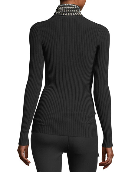 Crystal-Trim Ribbed Turtleneck Sweater