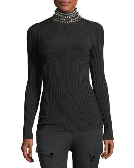 Crystal-Trim Ribbed Turtleneck Sweater