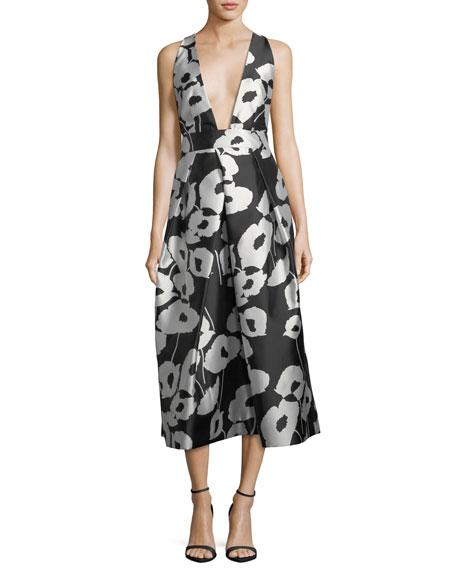 Paris Poppy Floral-Print Twill Evening Dress