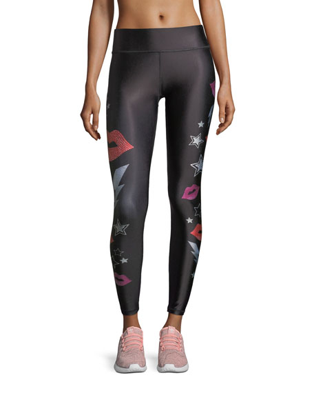 Crystal Lips Tall Band Performance Leggings