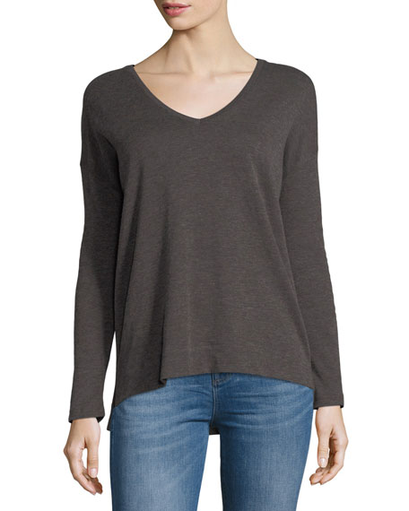 Cotton/Cashmere Long-Sleeve V-Neck Pullover Top