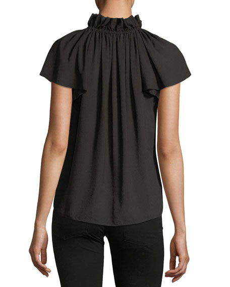 Off-the-Shoulder Short-Sleeve Silk Top