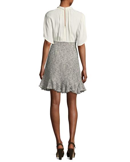 Round-Collar Silk & Tweed Short Dress