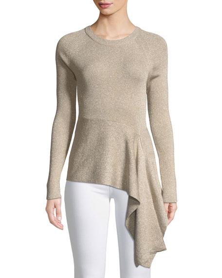 Metallic Rib-Knit Crewneck Pullover Sweater w/ Waist Tie