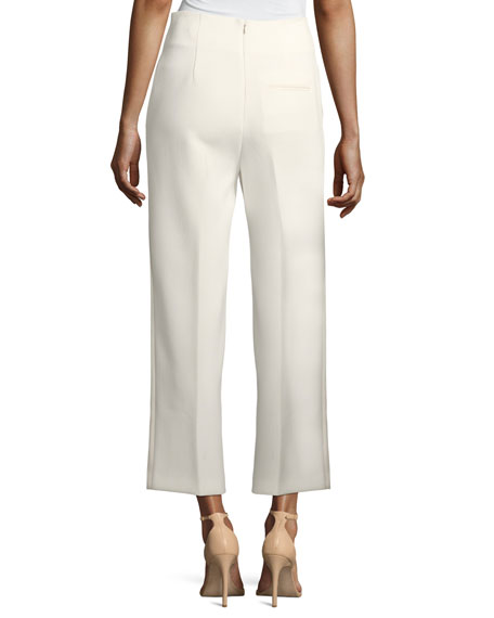 Tailored Straight-Leg Crepe Pants