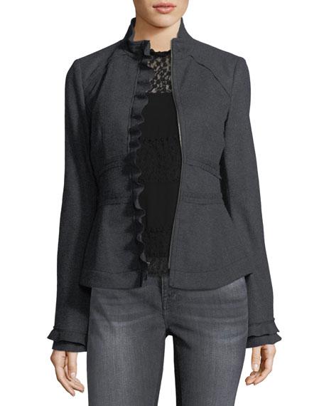 Caroline Zip-Front Wool Jacket w/ Ruffled Trim