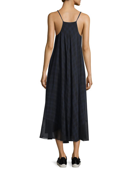 Sleeveless V-Neck Plaid Gauze Trapeze Dress