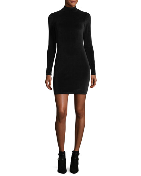 Long-Sleeve Turtleneck Velour Mini Dress w/ Back Cutout