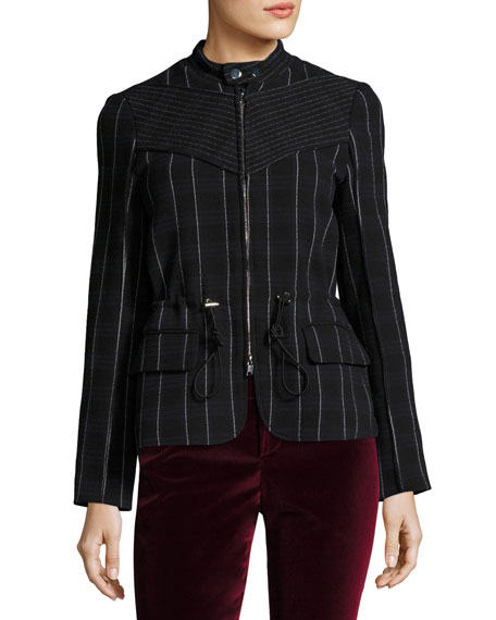Zip-Front Tailored Striped Field Jacket