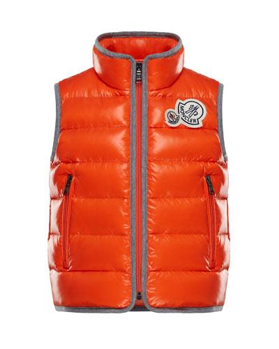 Bramont Contrast-Trim Quilted Vest, Size 8-14