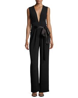 Sleeveless Wide-Leg Plunging Jumpsuit w/ Satin Belt