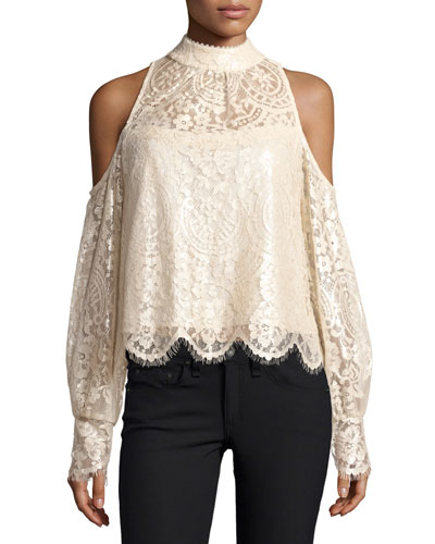 Shimmer-Lace Cold-Shoulder Blouse