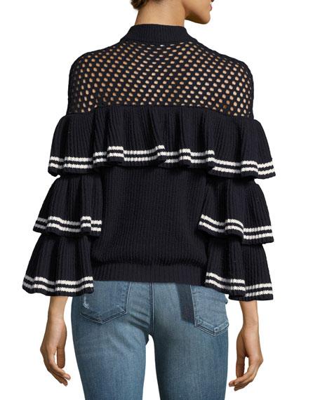 Striped Frill Long-Sleeve Rib-Knit Wool Sweater