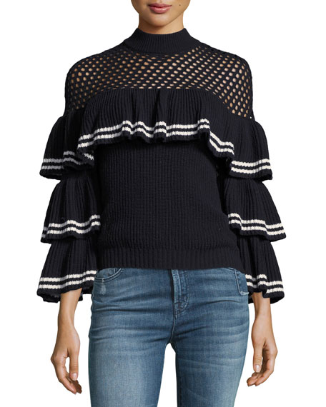 Striped Frill Long-Sleeve Rib-Knit Wool Sweater