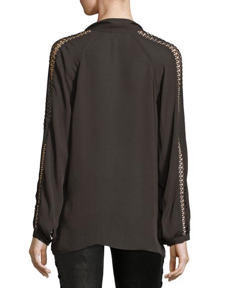 Phoenix Rise Button-Front Silk Top