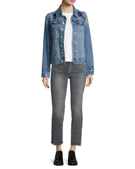 Sara Cigarette Ankle Jeans w/ Frayed Hem